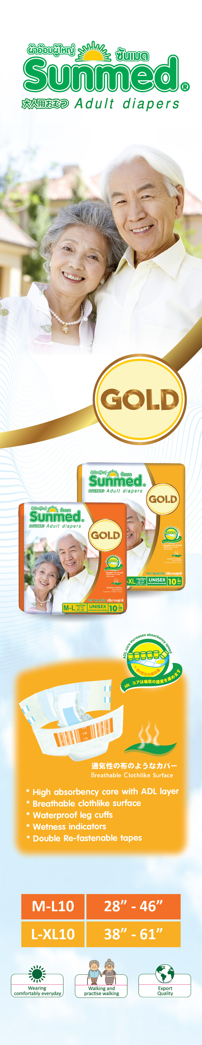 SunMed Adult Diapers Gold